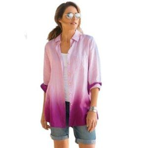 Soft Surroundings Pink Ombre' Linen Tunic Top S
